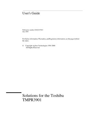 Solutions for the Toshiba TMPR3901 User's Guide   Keysight