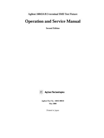 16043A/B 3-terminal SMD Test Fixture Operation and Service Manual ...