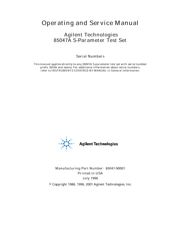 85047A S-Parameter Test Set Operating and Service Manual | Keysight
