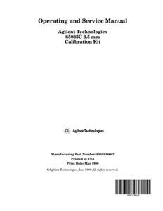85033C 3.5mm Calibration Kit Operating and Service Manual | Keysight