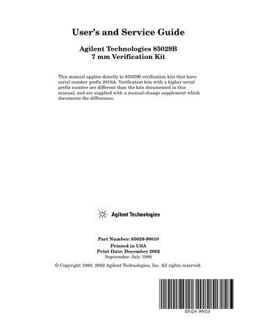 85029B 7mm Verification Kit Operating and Service Manual | Keysight