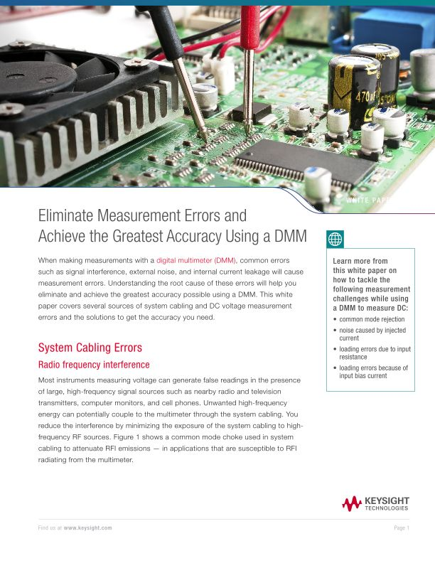 Eliminate Measurement Errors and Achieve the Greatest Accuracy Using a DMM