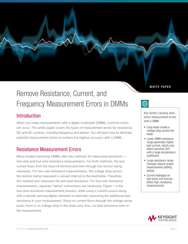 Remove Resistance, Current, and Frequency Measurement Errors in DMMs