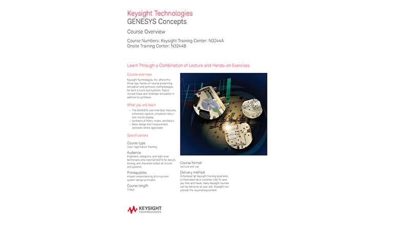 GENESYS Concepts – Keysight Training Overview