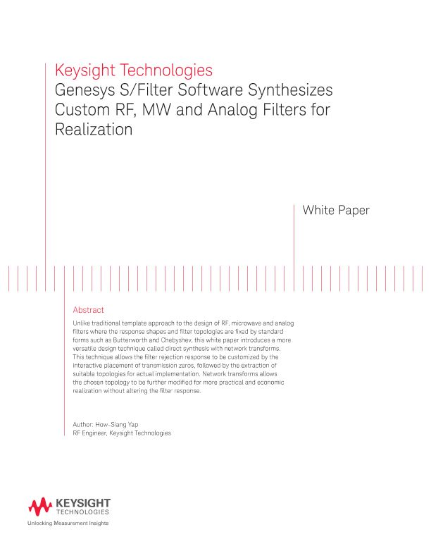 Genesys S/Filter Software Synthesizes Custom RF, MW and Analog Filters for Realization – White Paper