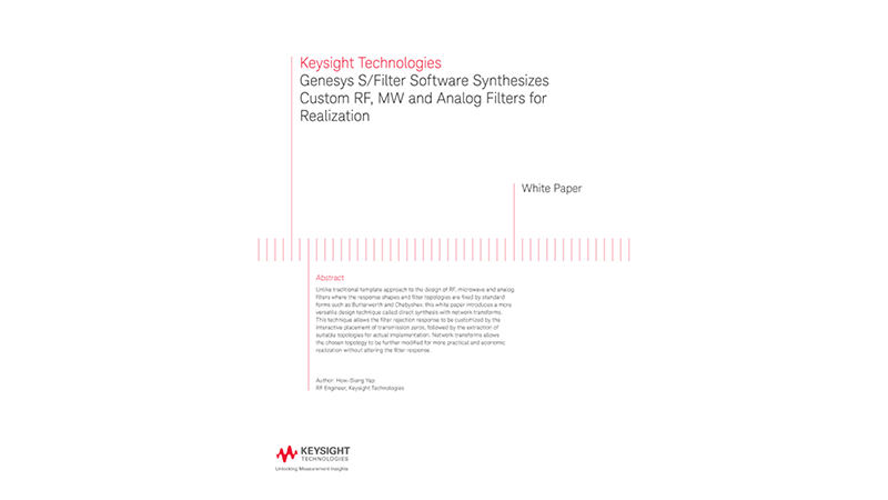 RF, MW and Analog Filters Synthesis Using Genesys S/Filter