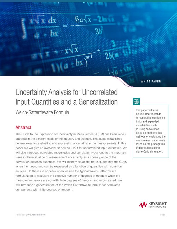 Uncertainty Analysis for Uncorrelated Input Quantities and a Generalization Welch-Satterthwaite Formula