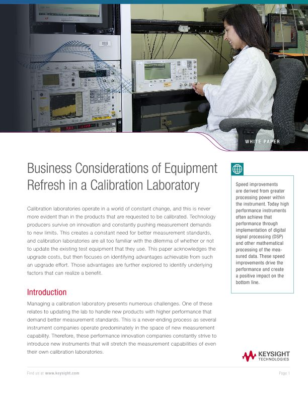 Business Considerations of Equipment Refresh in a Calibration Laboratory