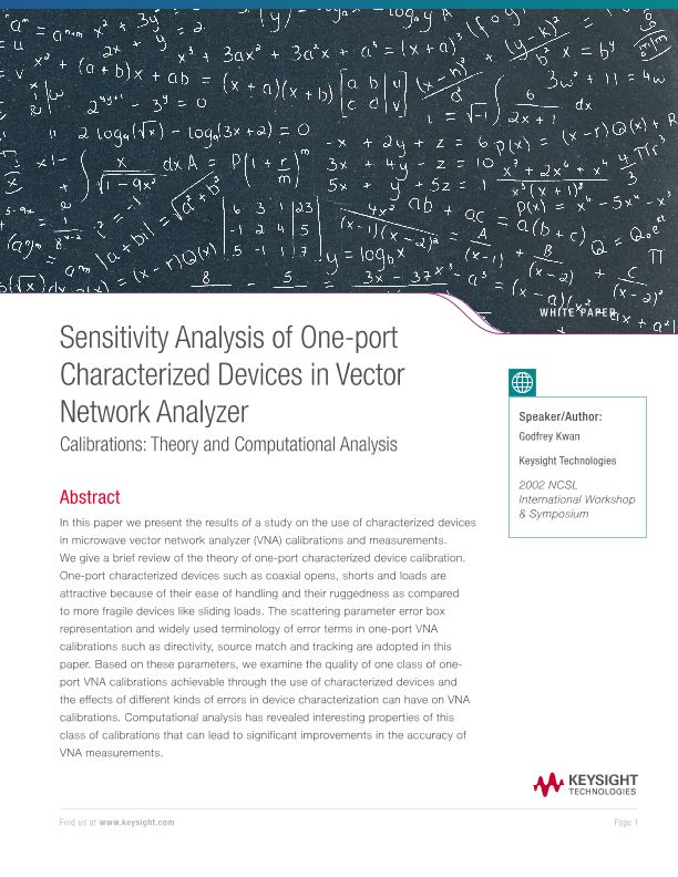 Sensitivity Analysis of One-port Characterized Devices in VNA