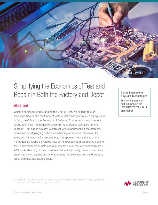 Economics of Test and Repair in Both the Factory and Depot