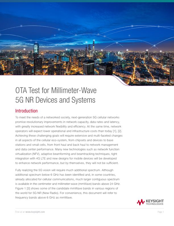 OTA Test for Millimeter-Wave 5G NR Devices and Systems