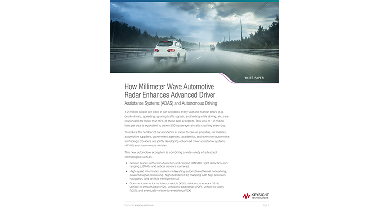 How Millimeter Wave Automotive Radar Enhances Advanced Driver Assistance Systems (ADAS) and Autonomous Driving