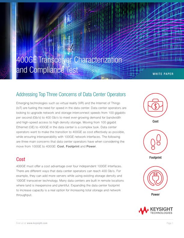 400GE Transceiver Characterization and Compliance Test: Addressing Top Three Concerns of Data Center Operators