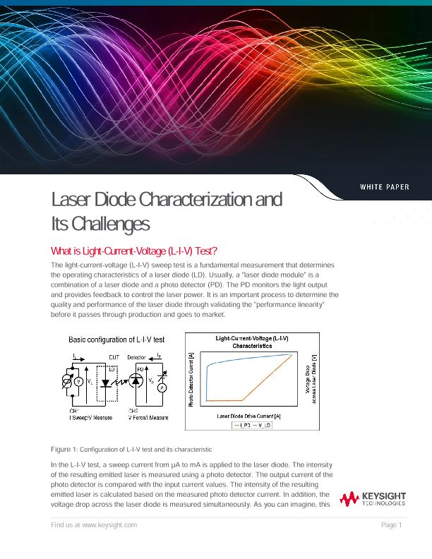 Characterization of Laser Diode and Its Challenges