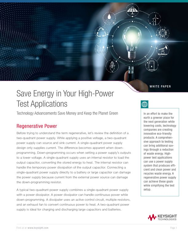 Save Energy in Your High-Power Test Applications