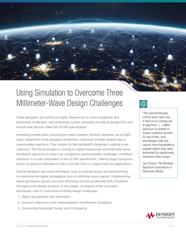 Using System Simulation to Overcome 3 mmWave Design Challenges