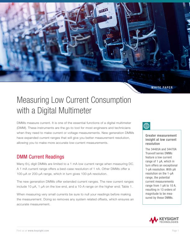 Low Current Measurement with a Digital Multimeter