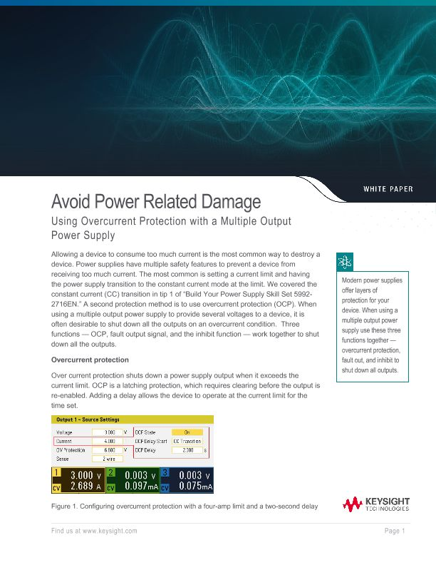Avoid Power Related Damage Using Overcurrent Protection with a Multiple Output Power Supply