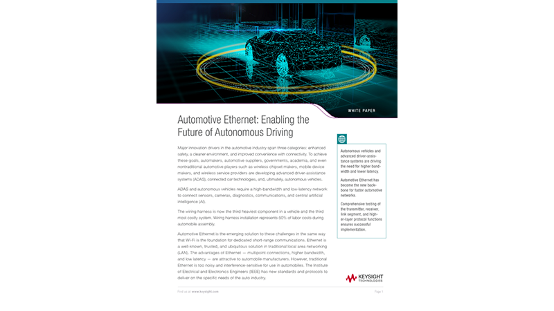 Automotive Ethernet: Enabling the Future of Autonomous Driving