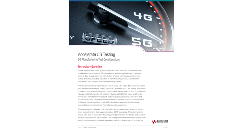 Accelerate 5G Testing: 5G Manufacturing Test Considerations