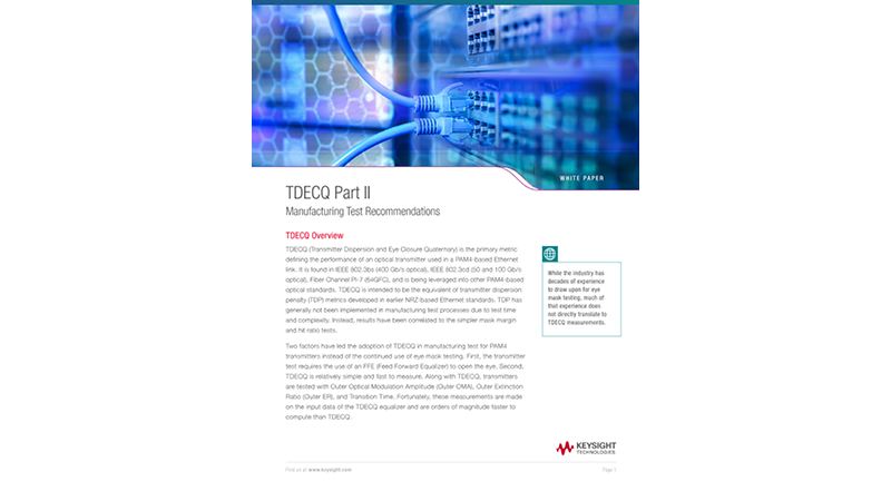 TDECQ Part II Manufacturing Test Recommendations