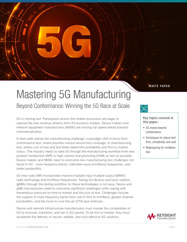 Mastering 5G for Manufacturing