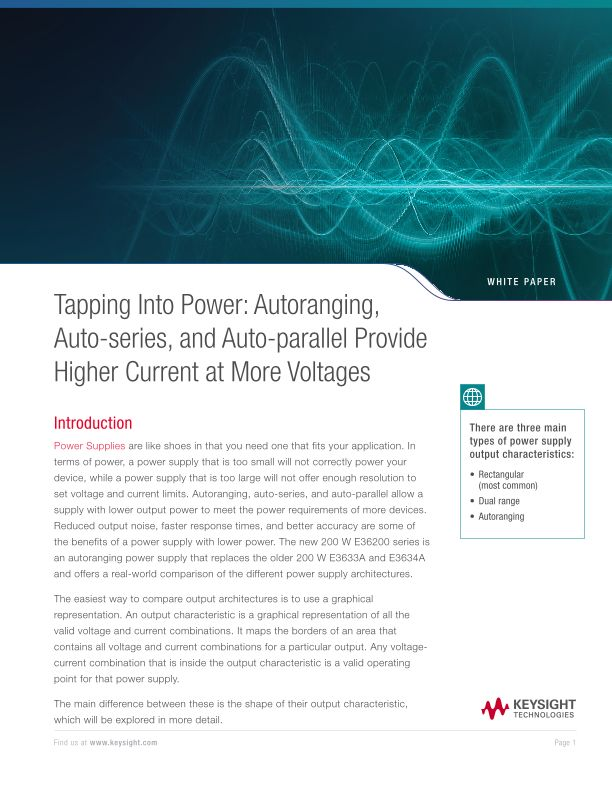 Higher Current at More Voltages with Auto Ranging Power Supply