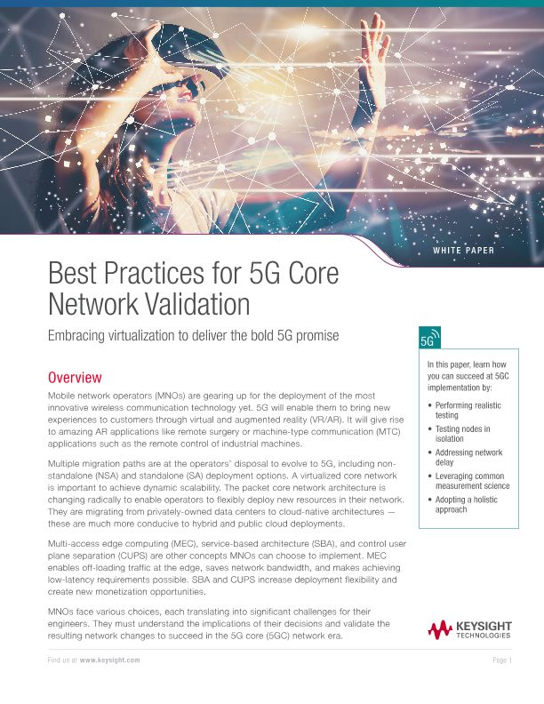 Best Practices for 5G Core Network Validation