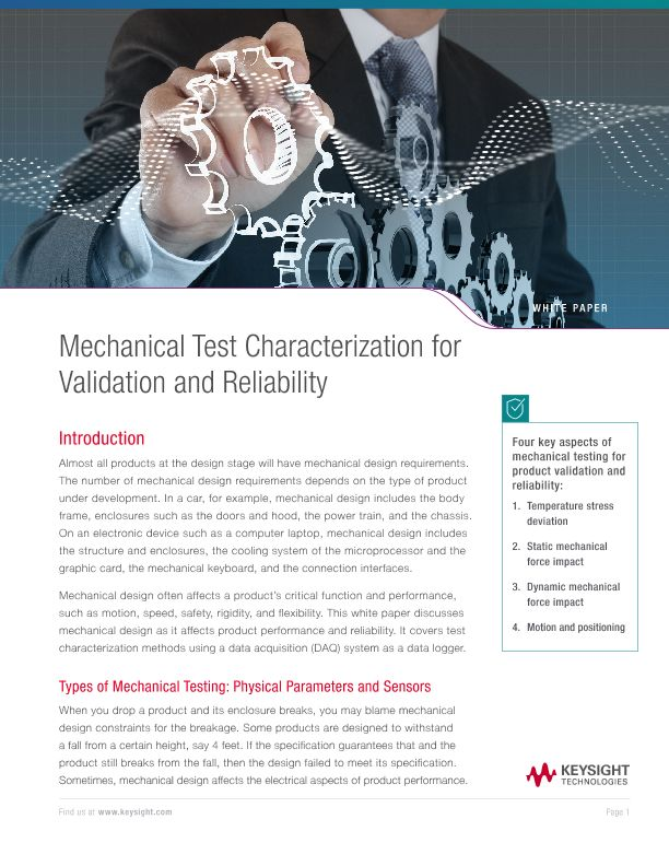 Mechanical Test Characterization for Validation and Reliability