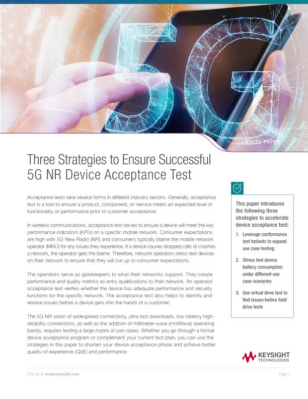 Three Strategies to Ensure Successful 5G NR Device Acceptance Test