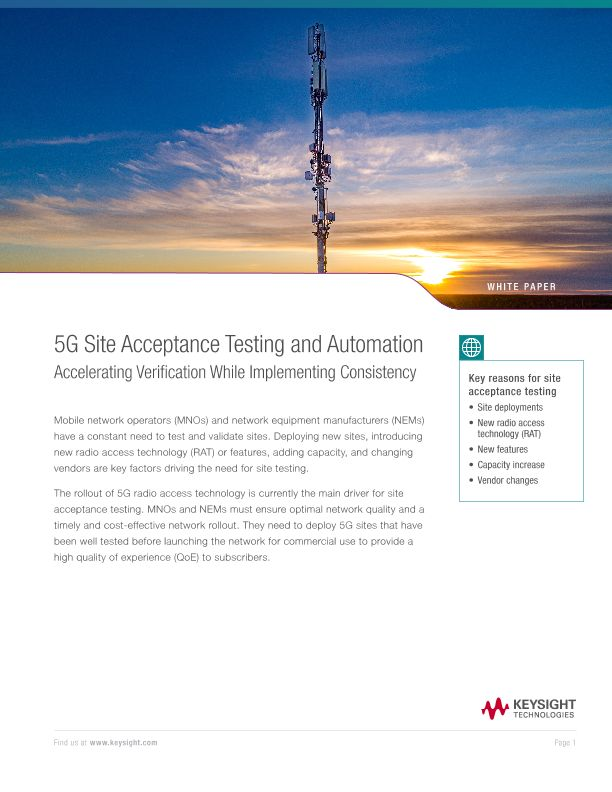 5G Site Acceptance Testing and Automation Accelerating Verification While Implementing Consistency