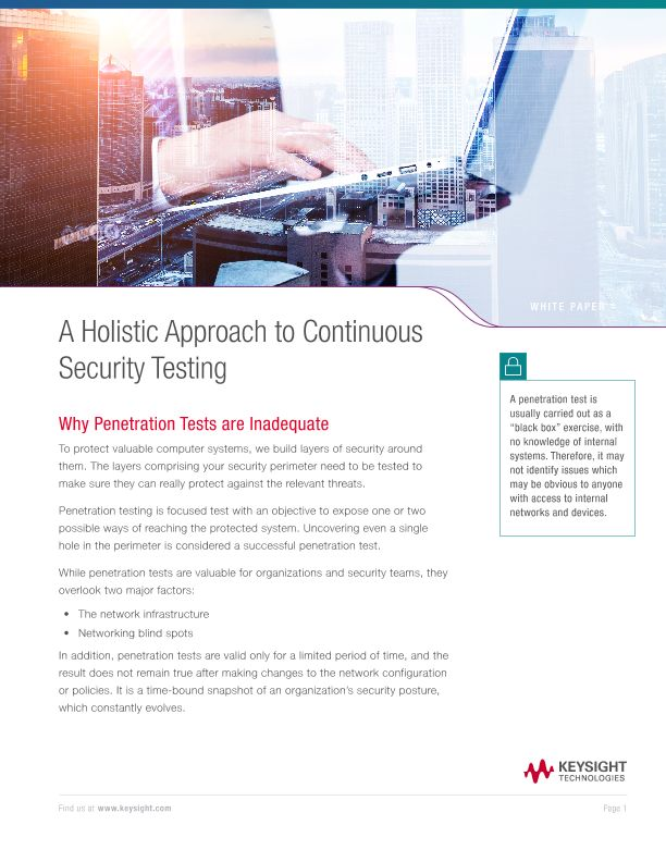 A Holistic Approach to Continuous Security Testing
