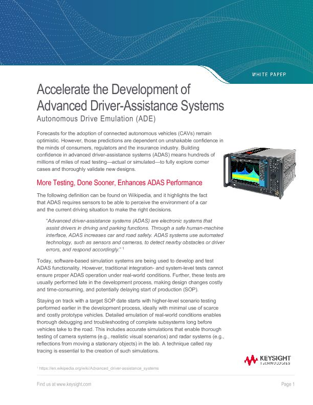 Accelerate the Development of Advanced Driver-Assistance Systems