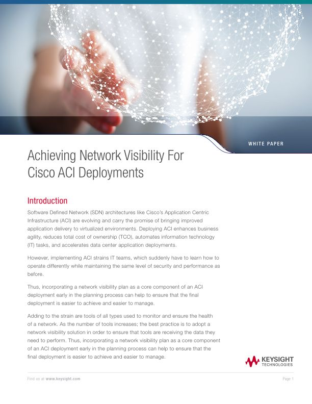Achieving Network Visibility for Cisco ACI Deployments