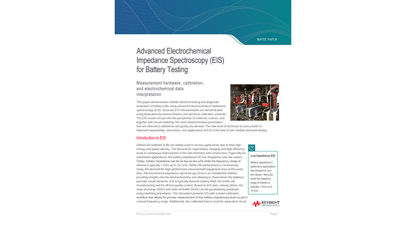 Advanced Electrochemical Impedance Spectroscopy (EIS) for Battery Testing
