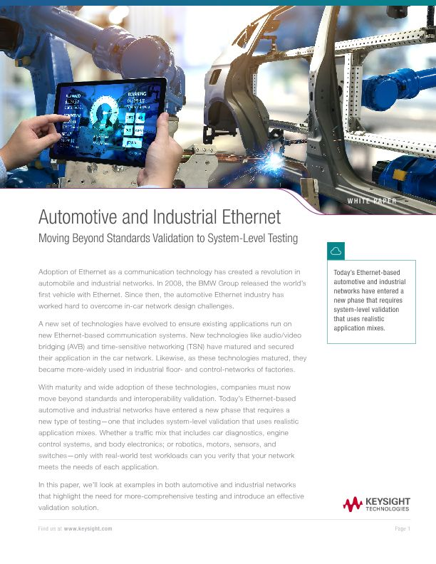 Automotive and Industrial Ethernet: Moving Beyond Standards Validation to System-Level Testing