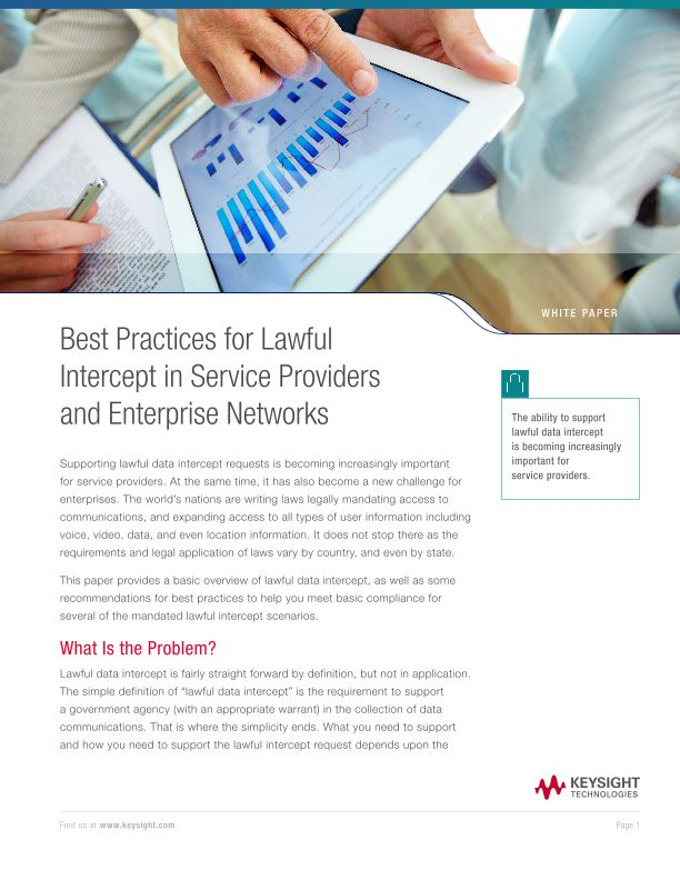 Best Practices for Lawful Intercept in Service Provider and Enterprise Networks