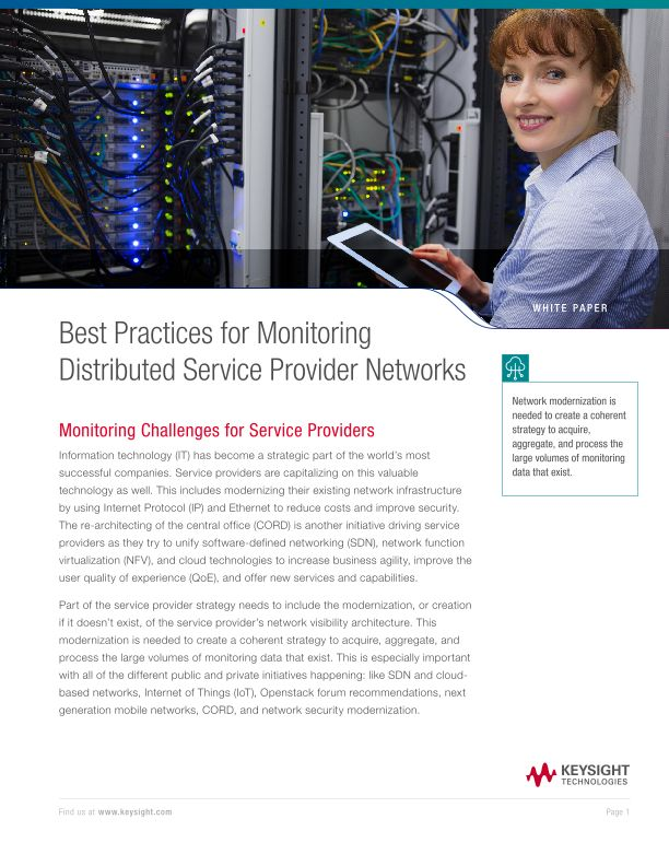 Best Practices for Monitoring Distributed Service Provider Networks