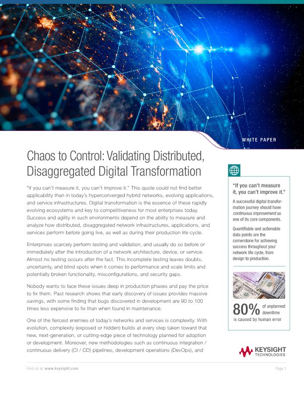 Chaos to Control: Validating Distributed, Disaggregated Digital Transformation