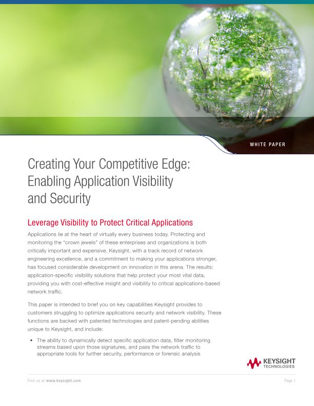 Creating Your Competitive Edge: Enabling Application Visibility and Security