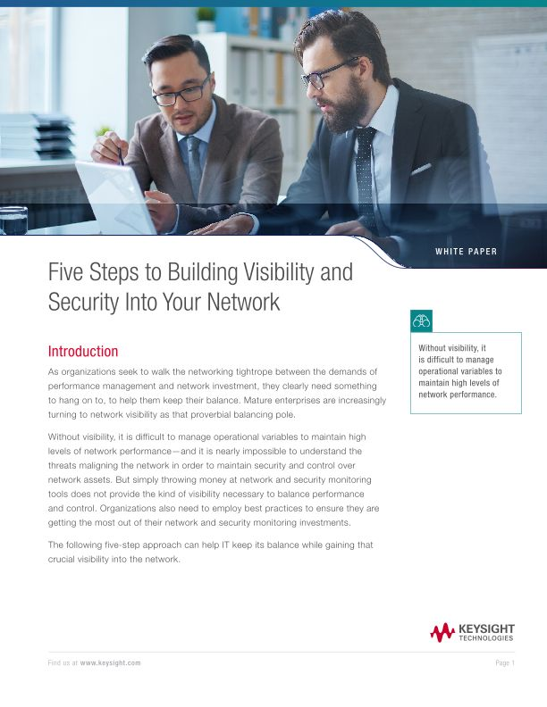 Five Steps to Building Visibility and Security Into Your Network
