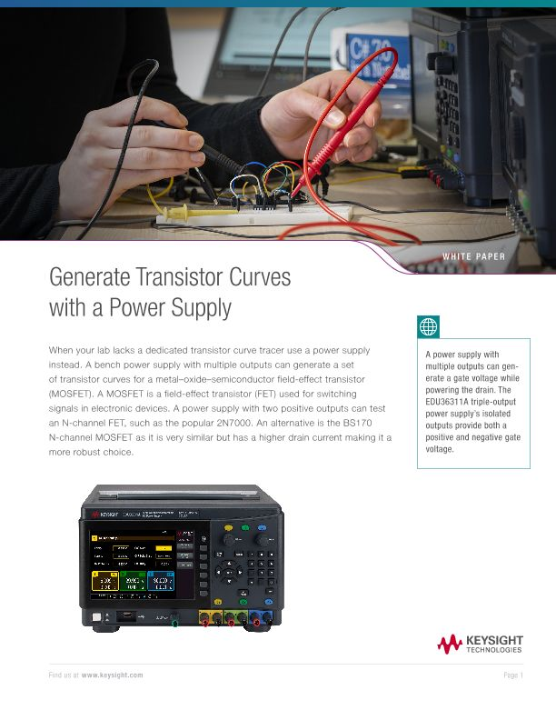 Generate Transistor Curves with Power Supply