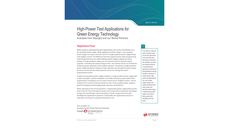 High-Power Test Applications for Green Energy Technology