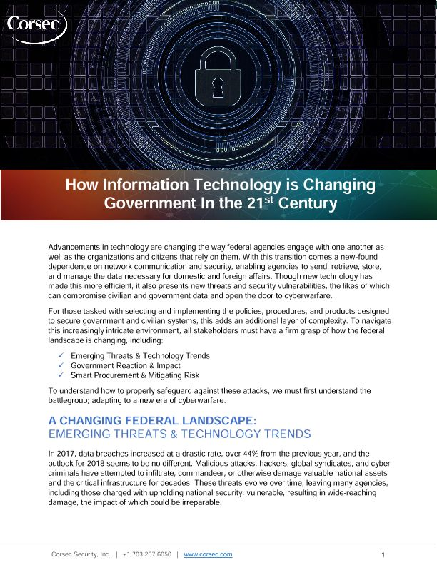How Information Technology is Changing Government In the 21st Century