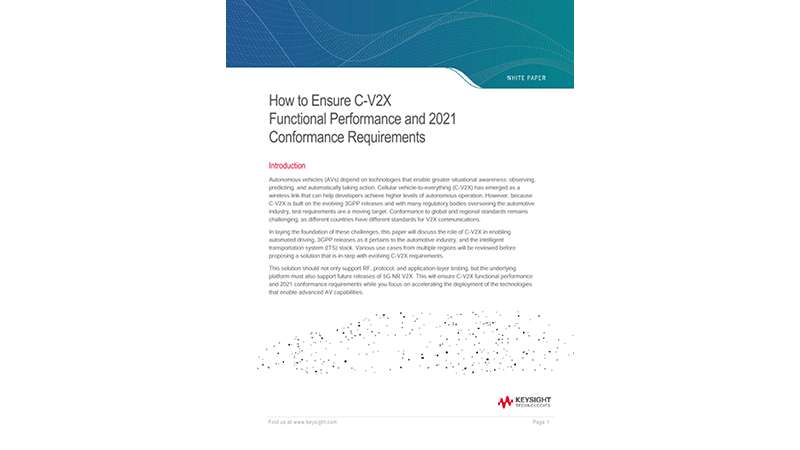 How to Ensure C-V2X Functional Performance and 2021 Conformance Requirements