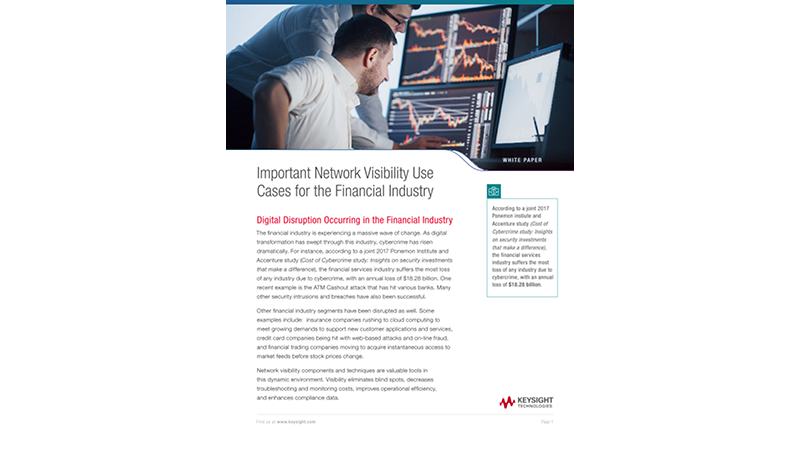 Important Network Visibility Use Cases for the Financial Industry
