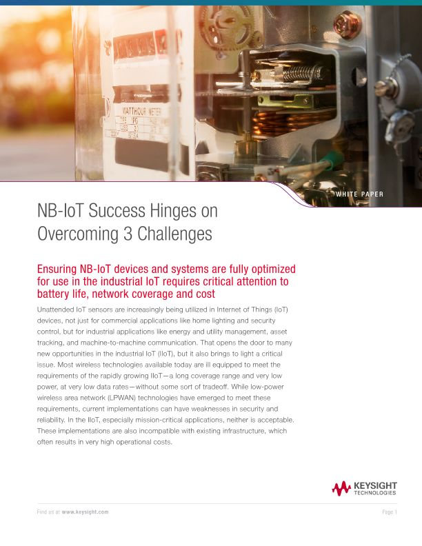 NB-IoT Success Hinges on Overcoming 3 Challenges