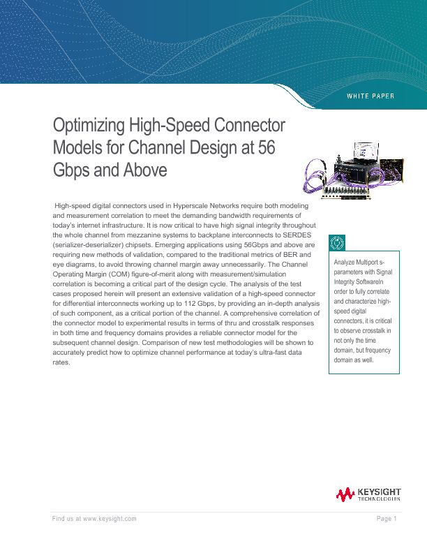 Optimizing High-Speed Connector Models for Channel Design at 56 Gbps and Above