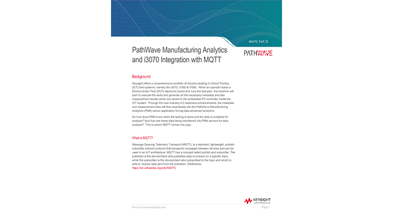 PathWave Manufacturing Analytics and i3070 Integration with MQTT