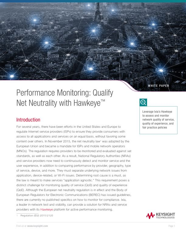 Performance Monitoring: Qualify Net Neutrality with Hawkeye™